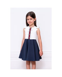 DRESS IVORY & NAVY RED FRONT STRIPE BUTTON TRIM CAP SLEEVES