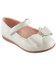 SHOE SILVER SHIMMER BOW RSTONE TRIM