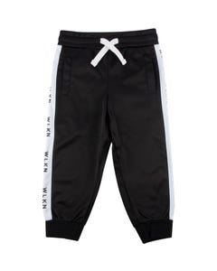 WLKN Boys Track Pant Black Side Stripe Size 2-14 | 20SP PJ02 Black