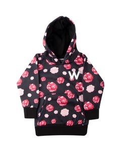 WLKN Girls Black Red Rose Print Sweater Size 2-14 | D20SP WJK02 Black