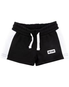 WLKN Girls Sweat Shorts Side Stripe Size 2-14 | 20sp wsj02 Black