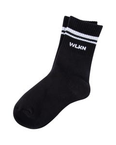 WLKN Unisex Black Sock Grey Stripe Size 6-10 | 20SP SCJ01 Black