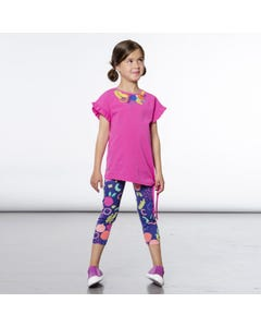 2 PC TOP & 3-4 LEGGING ROSE & MULTI COLORED FRUIT PRINT