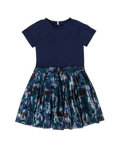 DRESS NAVY NEOPRENE AND SEQUIN TULLE SKIRT