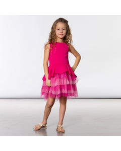 DRESS MAGENTA NEOPRENE AND TULLE DOT LAYERS