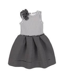 DRESS BLACK & WHITE STRIPE NEOPRENE PLEATED