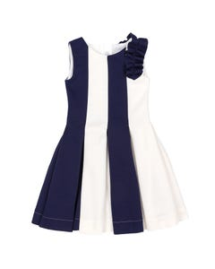 DRESS NAVY & WHITE NEOPRENE STRIPE FRILL TRIM