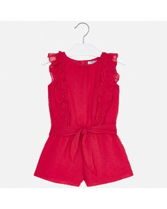 JUMPSUIT SHORT RED CHIFFON DOT EMBROIDERY