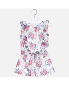 JUMPSUIT SHORT WHITE RED FLORAL FLOUNCE TRIM