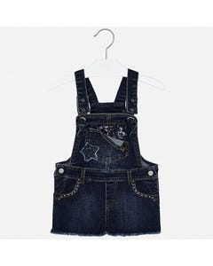 ROMPER DENIM SHORT SEQUIN POCKET TRIM