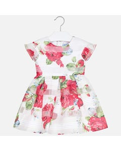 DRESS WHITE RED FLOWERS DEVORE PLEATS