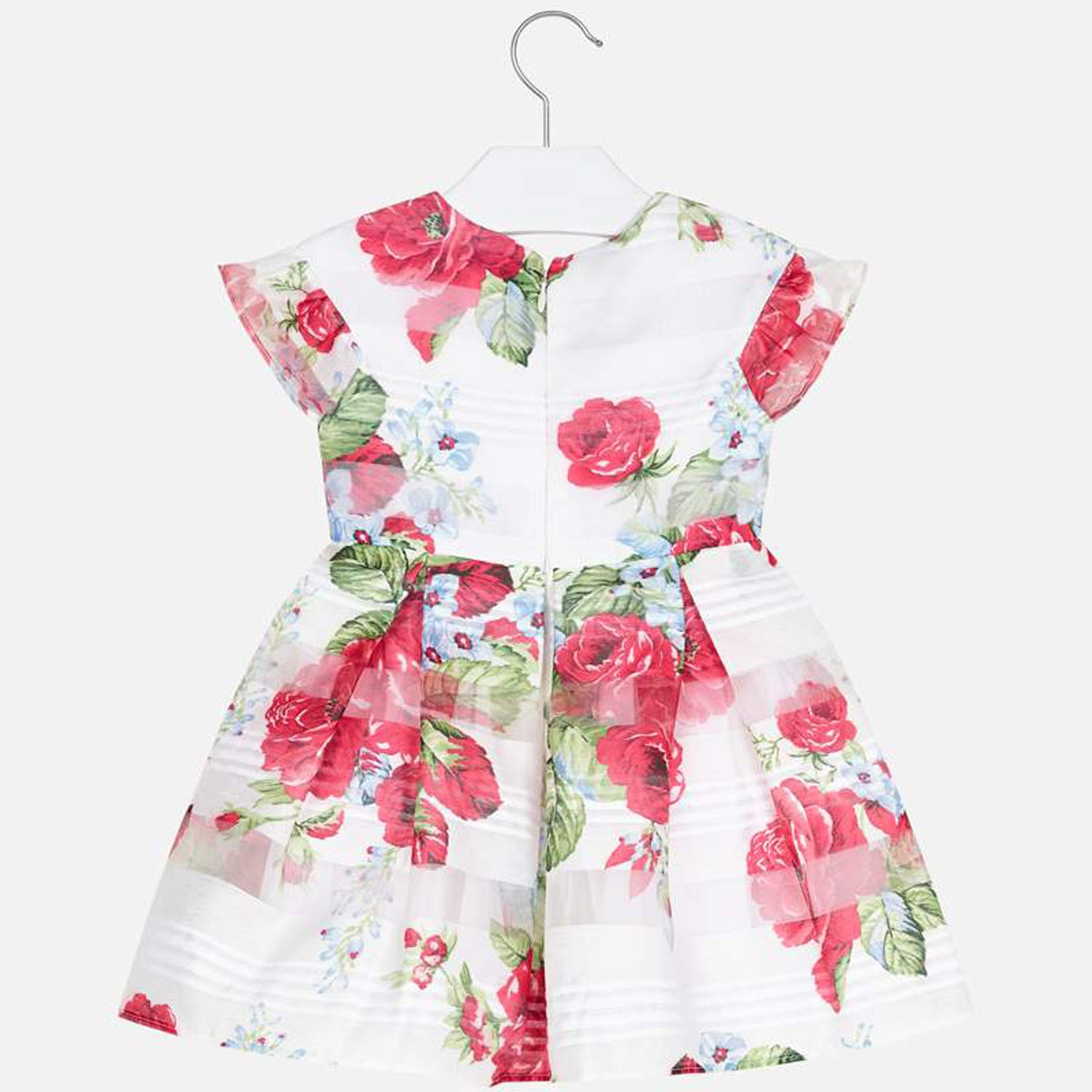 Mayoral Girls Dress White Red Flowers Devore Pleats Size 2 ...