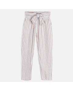 PANT STRIPED LINEN BEIGE & WHITE