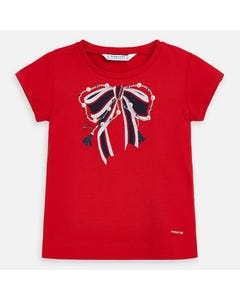 TSHIRT RED BOW NAVY & WHITE