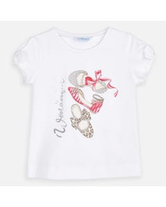 TSHIRT WHITE RED & SILVER SHOES PRINT