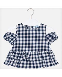 BLOUSE NAVY & WHITE CHECK