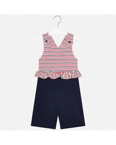 JUMPSUIT NAVY & RED STRIPE RUFFLE & NAVY BOTTOM