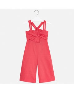 JUMPSUIT RED LINEN SPAGHETTI STRAPS SMOCKED BACK