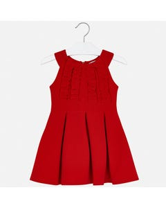DRESS RED RUFFLE FRONT & PLEATS