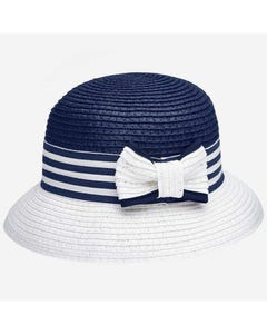 STRAW HAT WHITE & NAVY BOW TRIM