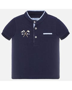 POLO TOP NAVY MAO NECKLINE SHORT SLEEVE BLUE TRIM
