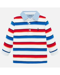 POLO TOP WHITE STRIPED BLUE & RED CHAMBRAY COLLAR LONG SLEEVE