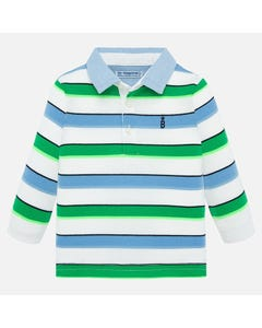 POLO TOP WHITE GREEN & BLUE STRIPE CHAMBRAY COLLAR LONG SLEEVE