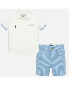 2 PC SHORT SET WHITE & BLUE LINEN