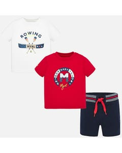 3 PC TSHIRT & SHORT SET RED & WHITE & NAVY ROWING PRINT