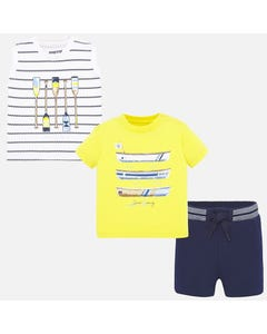 3 PC SHORT SET YELLOW NAVY & WHITE STRIPE ROW BOAT PRINT