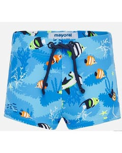 BATHING TRUNK BLUE FISH PRINT