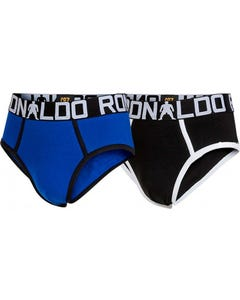 2 PK BOYS BRIEF UNDERWEAR BLACK & BLUE