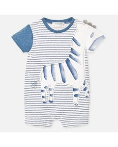 Mayoral Boys White Stripe Shortall Size 3m-9m | Baby Pants 1776 Blue
