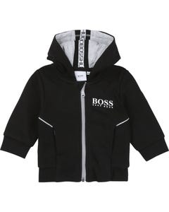 Hugo Boss Boys Black Hooded Grey Sweat Top Zipper Size 12m-3 | Kids Sweaters Boys 5786 Black