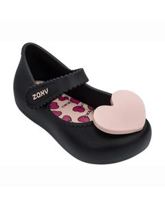ZAXY Girls Shoe Black Maryjane Toddler Heart Trim Size 5-12 | Toddler Shoes 82873 Black