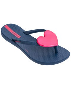 Ipanema Girls Flip Flop Blue Pink Heart Trim Child Size 11-4 | Girls Flip Flops 82598 Blue