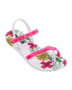 Ipanema Girls Sandal White & Pink Roses Print Child Size 9-3 | Girls Flip Flops 82767 Floral