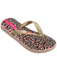 Ipanema Girls Flip Flop Beige & Gold Print Child Size 9-2 | Girls Flip Flops 82777 Beige
