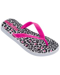 Ipanema Girls Flip Flop White Pink Black Print Child Size 9-7 | Toddler Girl Flip Flops 82777 Multi