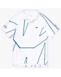 Lacoste Boys Polo Top White Blue Stripe Sport Short Sleeve Size 6-14 | Boys School Polo Shirts DJ7302 White