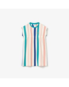 Lacoste Girls Dress Cream Multi Stripes Short Sleeve Size 2-12 | Girls Designer Dresses EJ5056 Multi