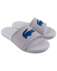 Lacoste Boys Sliders White Blue Logo Size 3-6 | Toddler Boy Flip Flops 39CUJ0006 White