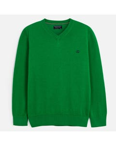 Nukutavake Boys Sweater Green Cotton V Neck Long Sleeve Size 10-18 | Boys Sweater Vest 356 78 Green