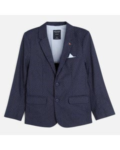 Nukutavake Boys Blazer Navy Grey Pattern Linen Size 8-18 | Boys Tuxedo 6440 53 Navy