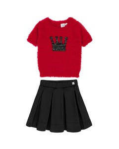 Deux par Deux Girls 2 Pc Sweater & Skirt Red&Black Feather Yarn Knitted-Pleated Skirt Size 2-12 | Girls Two Piece Outfits 20QT71 20Q80 Red