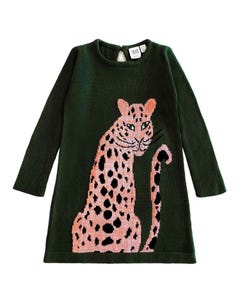 Deux par Deux Girls Sweater Dress Olive Knit Pink Cheetah Print Size 3-10 | Baby Girl Sweaters 20IT93 Green