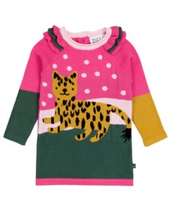Deux par Deux Girls Sweater Dress Pink & Green Gold Cheetah & Dot Print Size 6m-4 | Sweater For Girl Online Shopping 20I95 Multi