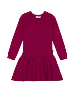 Deux par Deux Girls Sweater Dress Red Knit With Applique Petals Size 3-12 | Girls Sweaters 20QT94 Red