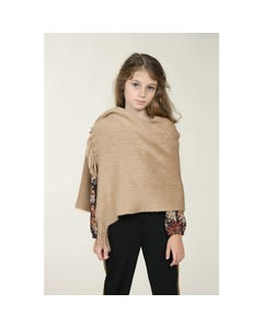 Mini Molly Girls Poncho Beige Knitted Fringe Trim Size 6-14 | Toddler Girl Sweaters B187A20 Beige