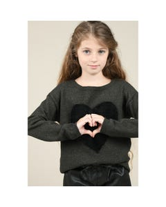 Mini Molly Girls Sweater Khaki Black Heart Trim Size 6-14 | Baby Girl Sweaters E986A20 Green